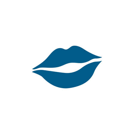 Woman Lips Blue Icon On White Background. Blue Flat Style Vector Illustration
