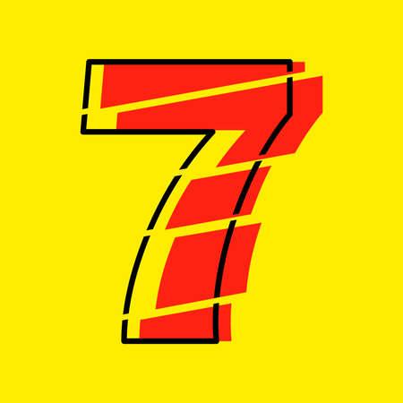 Glitch Modern Red 7 Number Design Vector Illustration. Numeral Vector Trendy Flat Line Style. Vector Elements Illustration Template for Web Design or Greeting Card. Ilustração