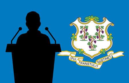 Connecticut USA Flag Background Man Speaks. Business Man Presentation Conference Concept.