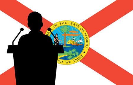Florida USA Flag Background Man Speaks. Business Man Presentation Conference Concept.