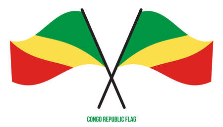 Two Crossed Waving Congo Flag On Isolated White Background. Congo Republic Flag Vector Illustration.