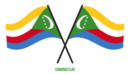 Two Crossed Waving Comoros Flag On Isolated White Background. Comoros Flag Vector Illustration. Stock fotó - 155877105