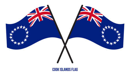 Two Crossed Waving Cook Islands Flag On Isolated White Background. Cook Islands Flag Vector Illustration.