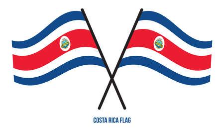 Two Crossed Waving Costa Rica Flag On Isolated White Background. Costa Rica Flag Vector Illustration.