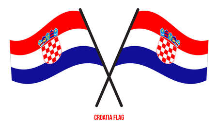 Two Crossed Waving Croatia Flag On Isolated White Background. Croatia Flag Vector Illustration.