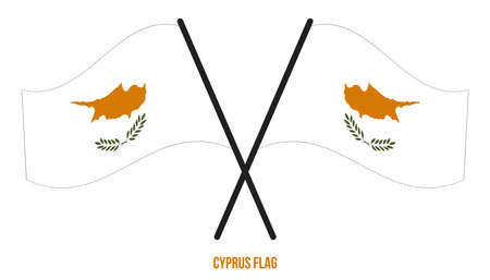 Two Crossed Waving Cyprus Flag On Isolated White Background. Cyprus Flag Vector Illustration.