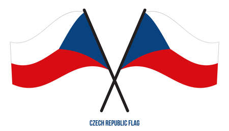 Two Crossed Waving Czech Republic Flag On Isolated White Background. Czech Republic Flag Vector Illustration.