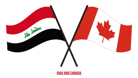 Iraq and Canada Flags Crossed And Waving Flat Style. Official Proportion. Correct Colors.