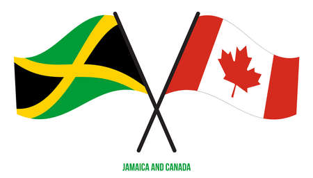Jamaica and Canada Flags Crossed And Waving Flat Style. Official Proportion. Correct Colors.