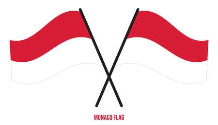 Monaco Flag Waving Vector Illustration on White Background. Monaco National Flag.