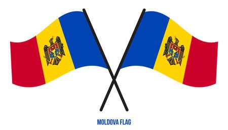 Moldova Flag Waving Vector Illustration on White Background. Moldova National Flag.