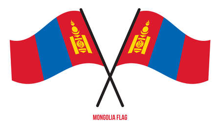 Mongolia Flag Waving Vector Illustration on White Background. Mongolia National Flag.