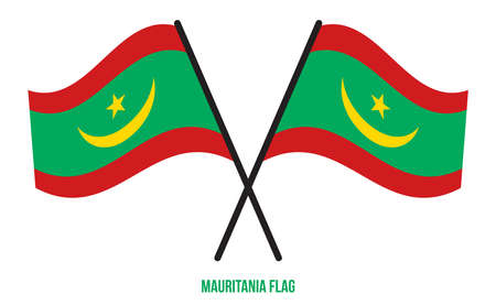 Mauritania Flag Waving Vector Illustration on White Background. Mauritania National Flag.