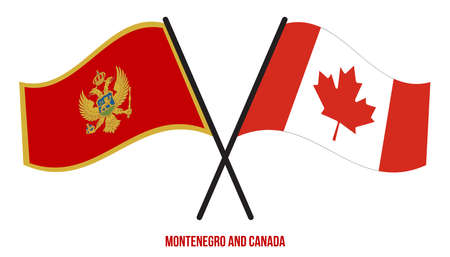 Montenegro and Canada Flags Crossed And Waving Flat Style. Official Proportion. Correct Colors. Çizim