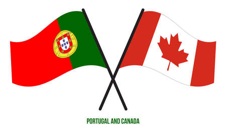 Portugal and Canada Flags Crossed And Waving Flat Style. Official Proportion. Correct Colors. 向量圖像