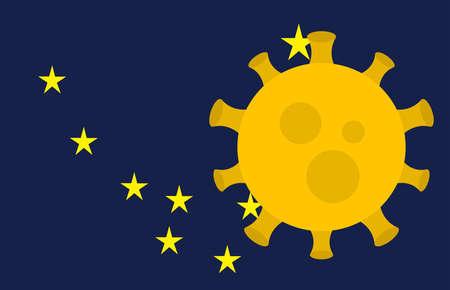 Flag of Alaska State With Outbreak Viruses Background of USA State flag. Novel Coronavirus Disease COVID-19. Coronavirus Infection And The Epidemic In America. USA Lockdown. 向量圖像