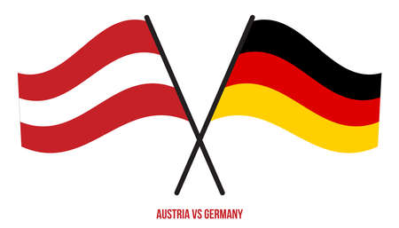 Austria and Germany Flags Crossed And Waving Flat Style. Official Proportion. Correct Colors.