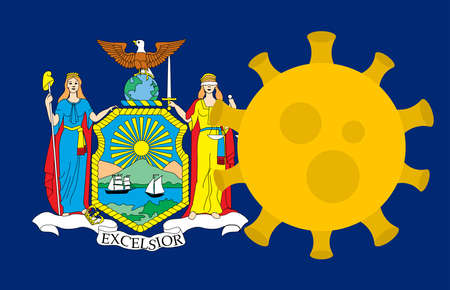 Flag of New York State With Outbreak Viruses Background of USA State flag. Novel Coronavirus Disease COVID-19. Coronavirus Infection And The Epidemic In America. USA Lockdown.