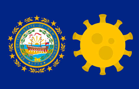 Flag of New Hampshire State With Outbreak Viruses Background of USA State flag. Novel Coronavirus Disease COVID-19. Coronavirus Infection And The Epidemic In America. USA Lockdown.