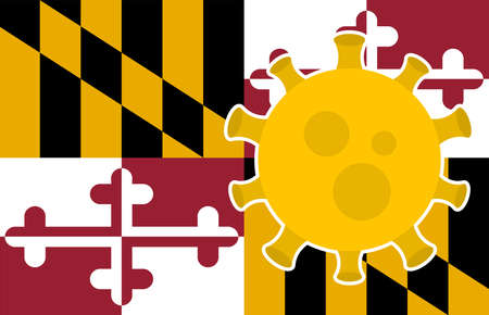 Flag of Maryland State With Outbreak Viruses Background of USA State flag. Novel Coronavirus Disease COVID-19. Coronavirus Infection And The Epidemic In America. USA Lockdown.