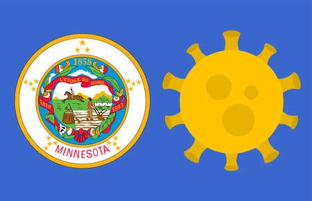 Flag of Minnesota State With Outbreak Viruses Background of USA State flag. Novel Coronavirus Disease COVID-19. Coronavirus Infection And The Epidemic In America. USA Lockdown.
