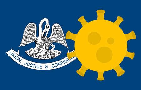 Flag of Louisiana State With Outbreak Viruses Background of USA State flag. Novel Coronavirus Disease COVID-19. Coronavirus Infection And The Epidemic In America. USA Lockdown.