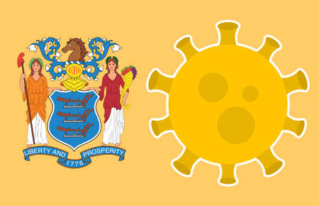Flag of New Jersey State With Outbreak Viruses Background of USA State flag. Novel Coronavirus Disease COVID-19. Coronavirus Infection And The Epidemic In America. USA Lockdown.