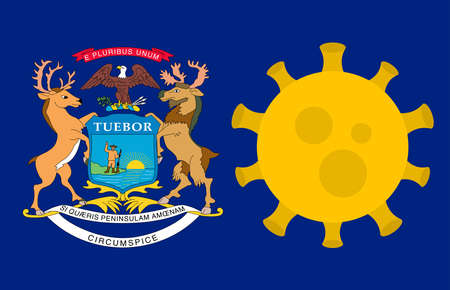 Flag of Michigan State With Outbreak Viruses Background of USA State flag. Novel Coronavirus Disease COVID-19. Coronavirus Infection And The Epidemic In America. USA Lockdown.