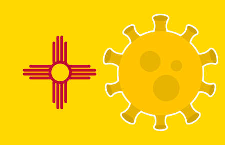 Flag of New Mexico State With Outbreak Viruses Background of USA State flag. Novel Coronavirus Disease COVID-19. Coronavirus Infection And The Epidemic In America. USA Lockdown.