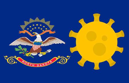 Flag of North Dakota State With Outbreak Viruses Background of USA State flag. Novel Coronavirus Disease COVID-19. Coronavirus Infection And The Epidemic In America. USA Lockdown. 일러스트