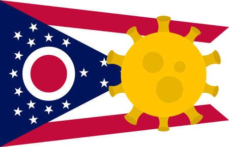 Flag of Ohio State With Outbreak Viruses Background of USA State flag. Novel Coronavirus Disease COVID-19. Coronavirus Infection And The Epidemic In America. USA Lockdown.