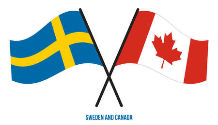 Sweden and Canada Flags Crossed And Waving Flat Style. Official Proportion. Correct Colors. 向量圖像