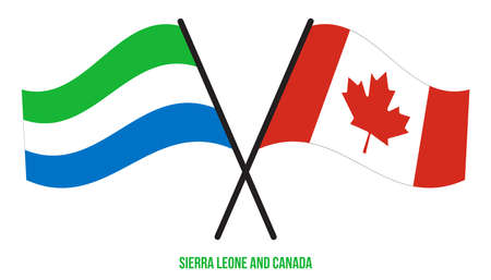 Sierra Leone and Canada Flags Crossed And Waving Flat Style. Official Proportion. Correct Colors.