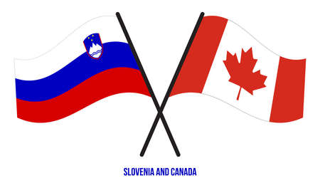 Slovenia and Canada Flags Crossed And Waving Flat Style. Official Proportion. Correct Colors.