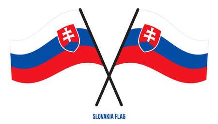 Slovakia Flag Waving Vector Illustration on White Background. Slovakia National Flag.