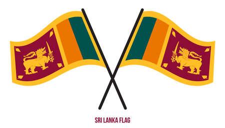 Sri Lanka Flag Waving Vector Illustration on White Background. Sri Lanka National Flag.