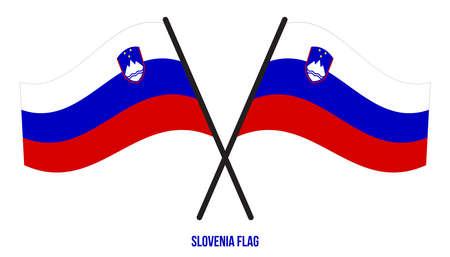 Slovenia Flag Waving Vector Illustration on White Background. Slovenia National Flag.