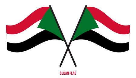Sudan Flag Waving Vector Illustration on White Background. Sudan National Flag. Çizim