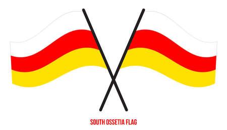 South Ossetia Flag Waving Vector Illustration on White Background. South Ossetia National Flag.