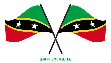 Saint Kitts and Nevis Flag Waving Vector Illustration on White Background. Saint Kitts and Nevis National Flag.