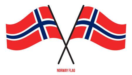Norway Flag Waving Vector Illustration on White Background. Norway National Flag. Çizim