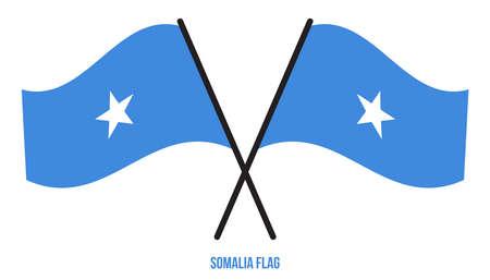 Somalia Flag Waving Vector Illustration on White Background. Somalia National Flag.