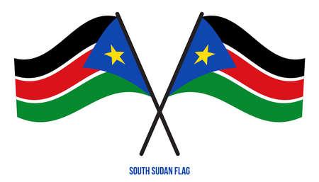 South Sudan Flag Waving Vector Illustration on White Background. South Sudan National Flag. Çizim