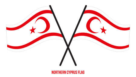 Northern Cyprus Flag Waving Vector Illustration on White Background. Northern Cyprus National Flag.