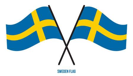 Sweden Flag Waving Vector Illustration on White Background. Sweden National Flag.