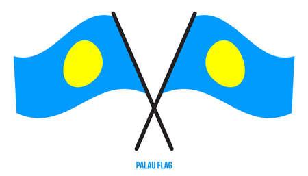 Palau Flag Waving Vector Illustration on White Background. Palau National Flag.