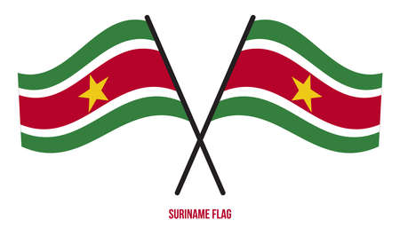Suriname Flag Waving Vector Illustration on White Background. Suriname National Flag.