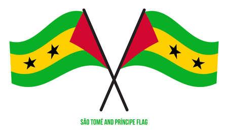 Sao Tome and Principe Flag Waving Vector Illustration on White Background. Sao Tome and Principe National Flag.