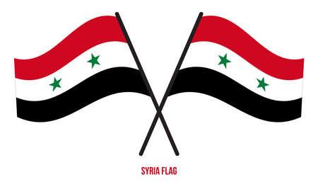 Syria Flag Waving Vector Illustration on White Background. Syria National Flag. Çizim