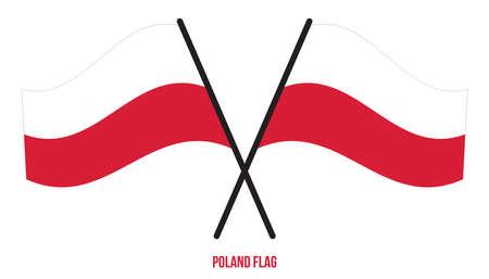Poland Flag Waving Vector Illustration on White Background. Poland National Flag. Çizim